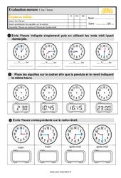 Évaluation, bilan sur lire l'heure au Ce2 avec les corrections