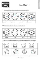 Exercices, révisions sur lire l'heure au Ce2 avec les corrections