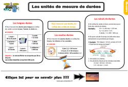 Leçon, trace écrite sur les unités de mesure de durées au Ce2