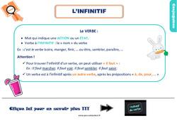 Leçon, trace écrite sur l'infinitif au Ce2