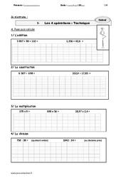 Les 4 opérations : Technique – CM1 – Exercices avec le corrigé