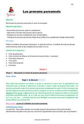 Les pronoms personnels – Cm2 – Fiche de préparation