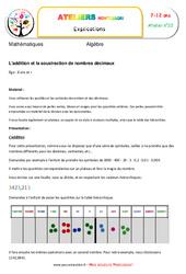 L'addition et la soustraction de nombres décimaux – Algèbre – Montessori – Atelier 22