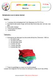 La multiplication de nombres décimaux – Algèbre – Montessori – Liste des matériaux
