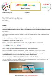 La division de nombres décimaux – Algèbre – Montessori – Atelier 24