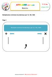 La division de nombres décimaux – Algèbre – Montessori – Liste des matériaux