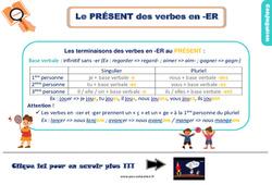 Leçon, trace écrite sur le présent des verbes en -er au Ce2