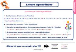 Leçon, trace écrite sur l'ordre alphabétique – Ce2