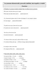 Pronoms démonstratifs, possessifs, indéfinis, interrogatifs, et relatifs – Cm2 – Exercices – Grammaire – Cycle 3