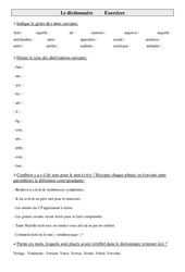 Dictionnaire – Cm2 – Exercices – Vocabulaire