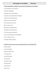 Sens propre et sens figuré – Cm2 – Exercices – Vocabulaire – Cycle 3