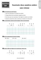 Exercices, révisions sur soustraire deux nombres sans retenue au Ce2 avec les corrigés