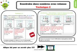 Leçon, trace écrite sur soustraire deux nombres avec retenue – Technique 2 au Ce2