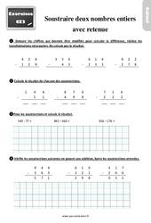 Exercices, révisions sur soustraire deux nombres avec retenue – Technique 1 au Ce2 avec les corrigés