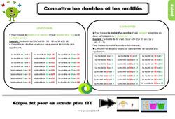 Leçon, trace écrite sur connaître les doubles et les moitiés au Ce2