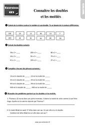 Exercices, révisions sur connaître les doubles et les moitiés au Ce2 avec les corrigés