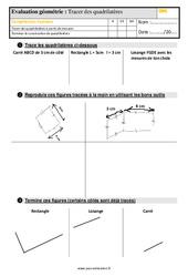 Évaluation, bilan sur tracer des quadrilatères – Cm1 avec les corrigés