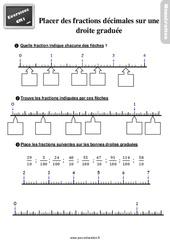 Exercices, révisions sur placer des fractions décimales sur une droite graduée – Cm1 avec les corrigés