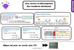 Leçon, trace écrite sur placer lire, écrire et décomposer des nombres décimaux - Cm1