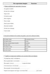 Exercices de vocabulaire cm2- cycle 3: Des expressions imagées