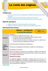 Le conte des origines - CM1 - CM2 - Conte - Production d'écrit - Fiche de préparation