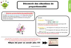 Leçon, trace écrite sur découvrir des situations de proportionnalité – Cm1