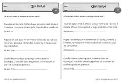 Qui suis-je – Cp – Inférences textes – Exercices de lecture