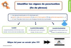 Leçon, trace écrite sur la ponctuation - Ce1