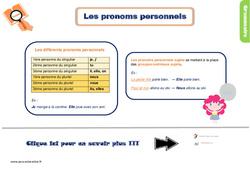 Leçon, trace écrite sur les pronoms personnels sujets pour le CE1