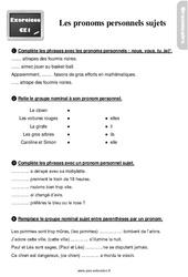 Exercices, révisions sur les pronoms personnels sujets – CE1 avec les corrections