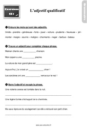 Exercices, révisions sur l'adjectif qualificatif – CE1