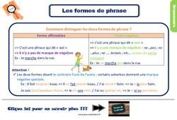 Leçon, trace écrite sur les formes de phrases au Ce2