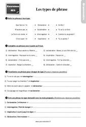 Exercices, révisions sur les types de phrases au Ce2 avec les corrections