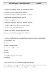 Mots génériques et mots particuliers - Cm2 – Exercices – Vocabulaire