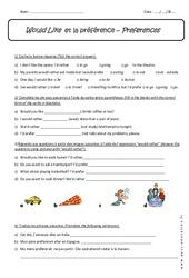 Would Like - 5ème - Exercices corrigés  sur la préférence en anglais
