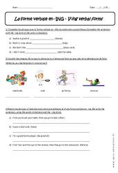 Forme verbale en -ING - 5ème - Exercices sur le Verbe +ing