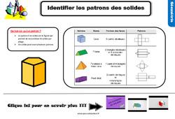 Leçon, trace écrite sur identifier les patrons de solides – Cm1