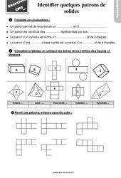 Exercices, révisions sur identifier les patrons de solides - Cm2