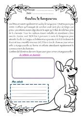 Goulou le kangourou – Cm1 – 1 histoire 1 problème