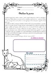 Obéliax le puma – Cm1 – 1 histoire 1 problème