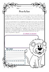 Oron le lion – Cm2 – 1 histoire 1 problème