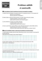 Exercices, révisions sur les problèmes additifs  et soustractifs au Ce2 avec les corrections