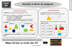 Leçon, trace écrite sur identifier et décrire les polygones au Ce2