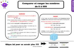 Leçon, trace écrite sur comparer et ranger les nombres de 0 à 999 au Ce2
