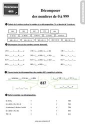 Exercices, révisions sur décomposer des nombres de 0 à 999 au Ce2 avec les corrections