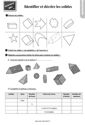 Exercices, révisions sur décrire et reconnaitre des solides – Cm1