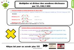 Leçon, trace écrite sur multiplier et diviser des nombres décimaux par 10 ,100,1 000 au Cm2