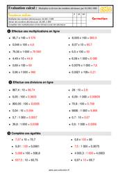 Évaluation, bilan sur multiplier et diviser des nombres décimaux par 10 ,100,1 000 au Cm2 avec la correction