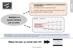 Leçon, trace écrite sur multiplier un nombre décimal par un entier au Cm2