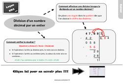 Leçon, trace écrite sur la division d'un nombre décimal par un entier au Cm2